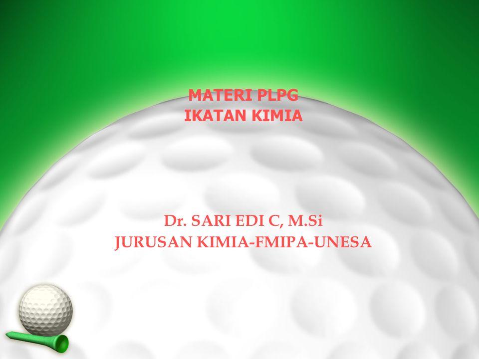 MATERI PLPG IKATAN KIMIA Dr. SARI EDI C, M.Si JURUSAN KIMIA-FMIPA-UNESA