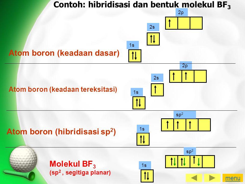 Contoh: hibridisasi dan bentuk molekul BF 3 Atom boron (keadaan dasar) 1s 2s 2p 1s 2s 2p Atom boron (keadaan tereksitasi) 1s sp 2 Atom boron (hibridis