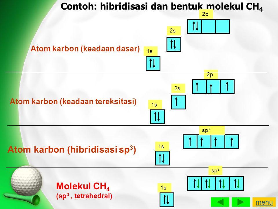 Contoh: hibridisasi dan bentuk molekul CH 4 Atom karbon (keadaan dasar) 1s 2s 2p 1s 2s 2p Atom karbon (keadaan tereksitasi) 1s sp 3 Atom karbon (hibri