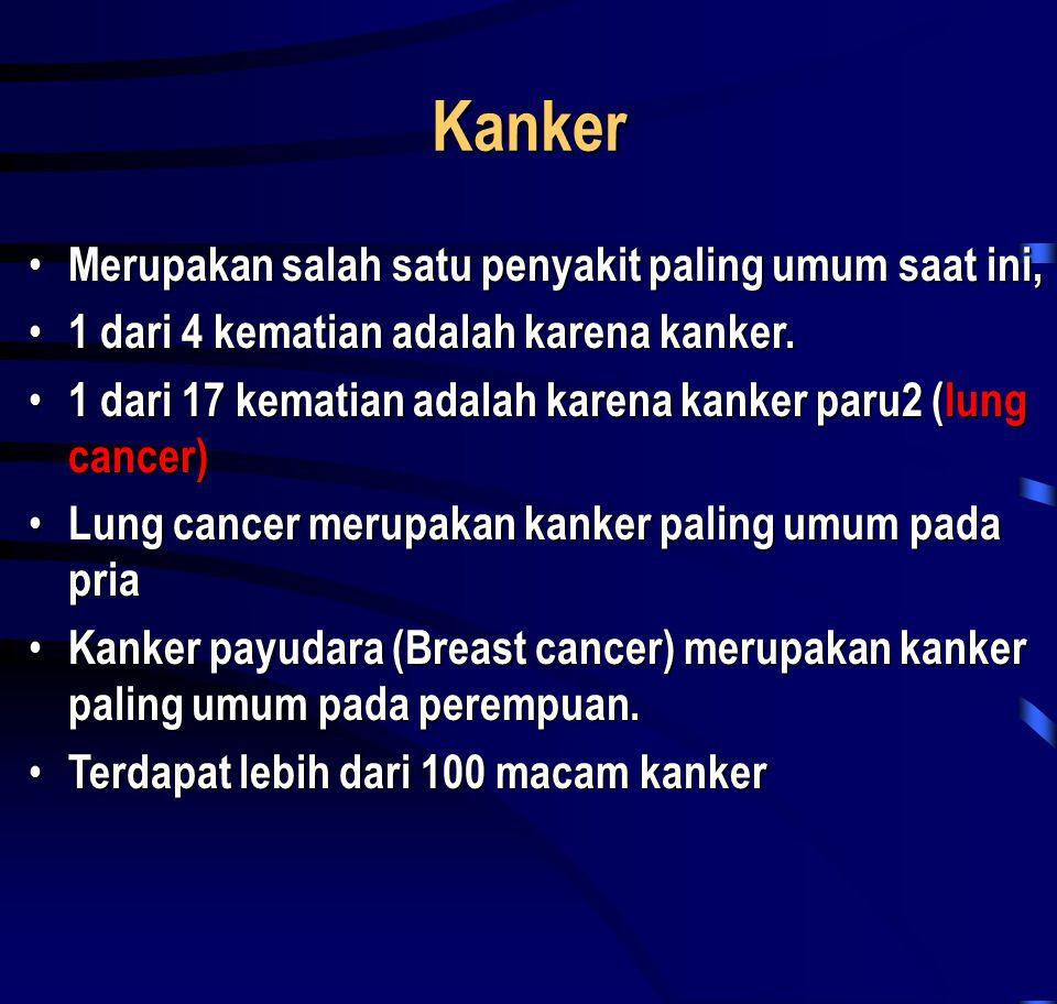 Kanker • Merupakan salah satu penyakit paling umum saat ini, • 1 dari 4 kematian adalah karena kanker. • 1 dari 17 kematian adalah karena kanker paru2