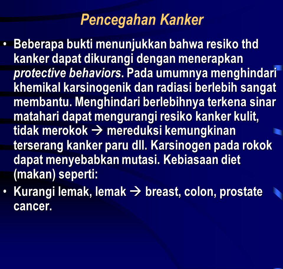 Pencegahan Kanker • Beberapa bukti menunjukkan bahwa resiko thd kanker dapat dikurangi dengan menerapkan protective behaviors. Pada umumnya menghindar