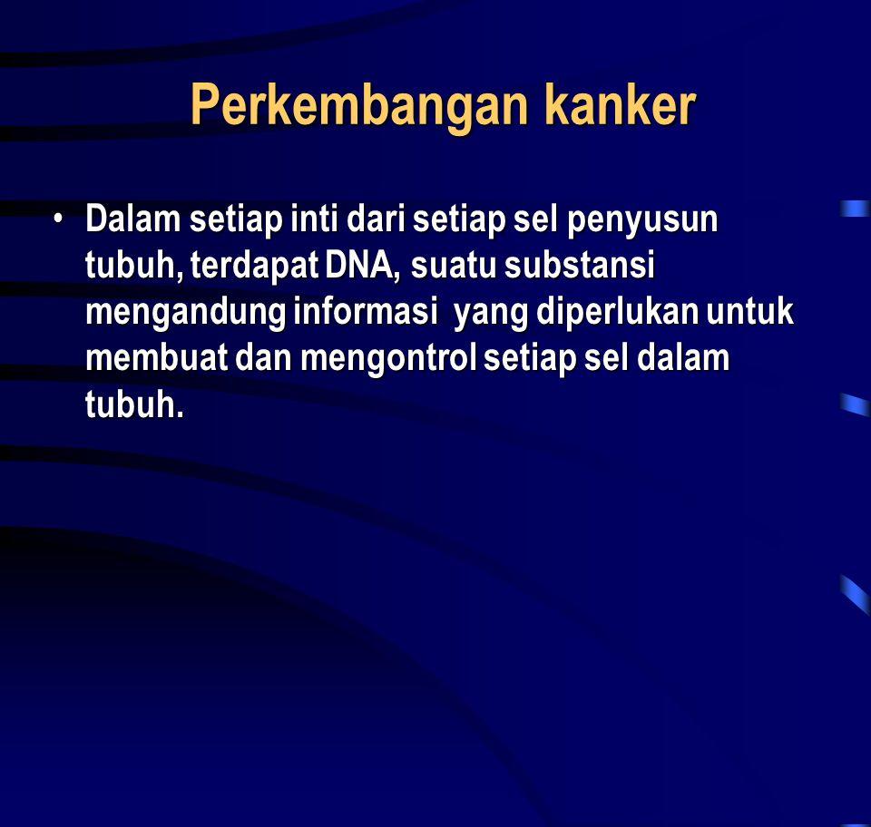Perkembangan kanker Perkembangan kanker • Dalam setiap inti dari setiap sel penyusun tubuh, terdapat DNA, suatu substansi mengandung informasi yang di