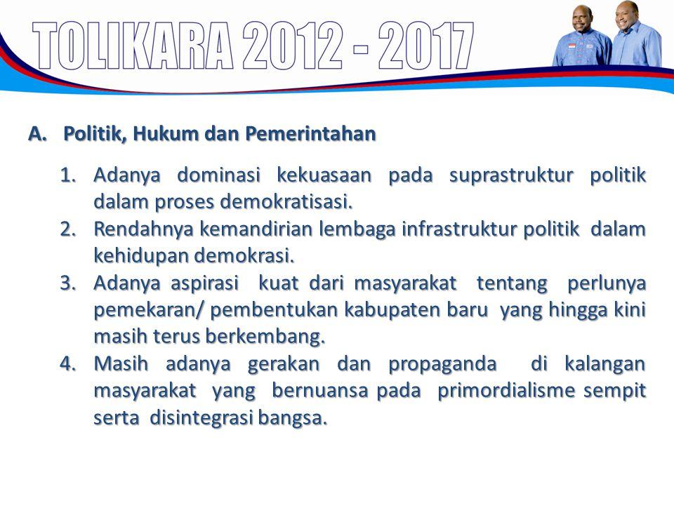A. Politik, Hukum dan Pemerintahan 1.Adanya dominasi kekuasaan pada suprastruktur politik dalam proses demokratisasi. 2.Rendahnya kemandirian lembaga