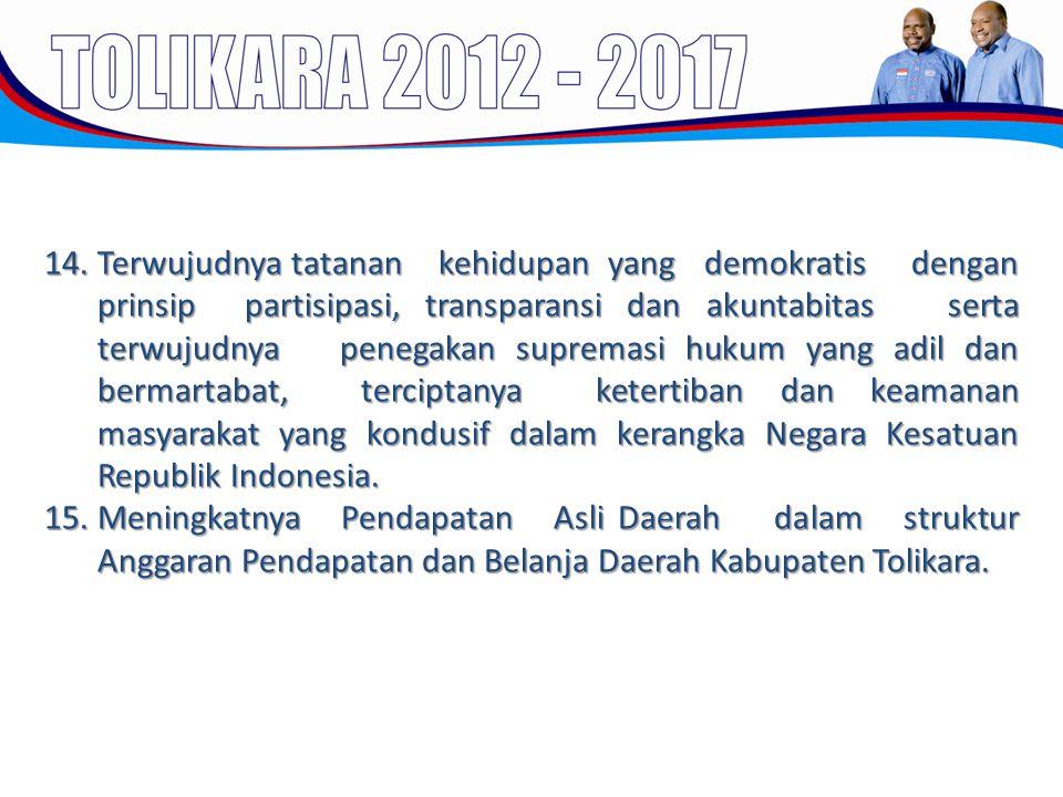 14.Terwujudnya tatanan kehidupan yang demokratis dengan prinsip partisipasi, transparansi dan akuntabitas serta terwujudnya penegakan supremasi hukum