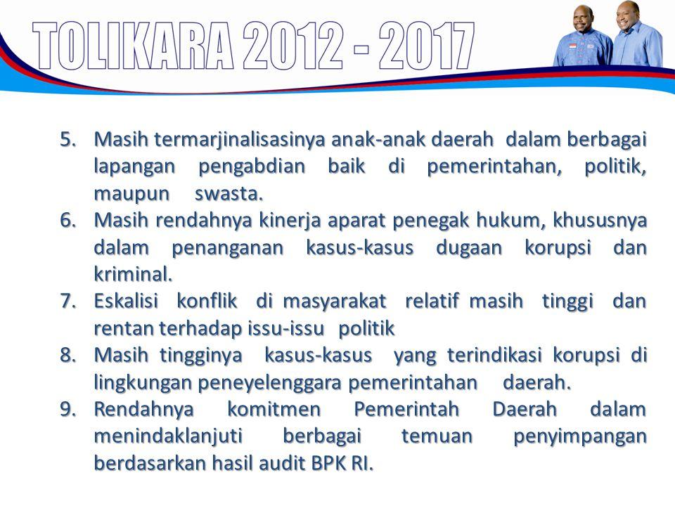5.Masih termarjinalisasinya anak-anak daerah dalam berbagai lapangan pengabdian baik di pemerintahan, politik, maupun swasta. 6.Masih rendahnya kinerj