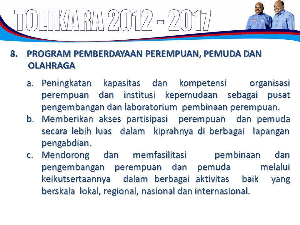 8. PROGRAM PEMBERDAYAAN PEREMPUAN, PEMUDA DAN OLAHRAGA a.Peningkatan kapasitas dan kompetensi organisasi perempuan dan institusi kepemudaan sebagai pu