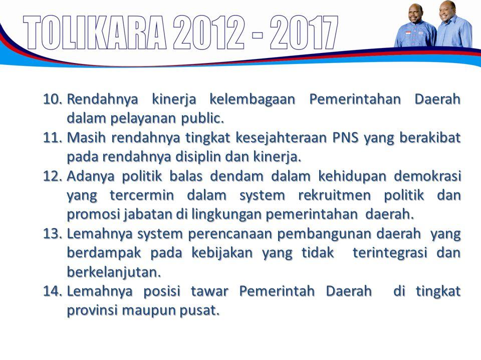 10.Rendahnya kinerja kelembagaan Pemerintahan Daerah dalam pelayanan public. 11.Masih rendahnya tingkat kesejahteraan PNS yang berakibat pada rendahny