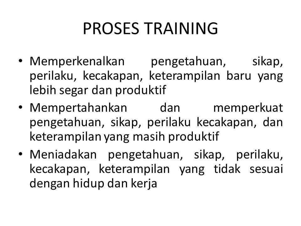 PROSES TRAINING • Memperkenalkan pengetahuan, sikap, perilaku, kecakapan, keterampilan baru yang lebih segar dan produktif • Mempertahankan dan memper