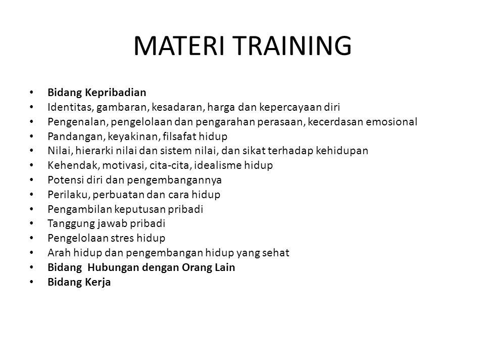 MATERI TRAINING • Bidang Kepribadian • Identitas, gambaran, kesadaran, harga dan kepercayaan diri • Pengenalan, pengelolaan dan pengarahan perasaan, k