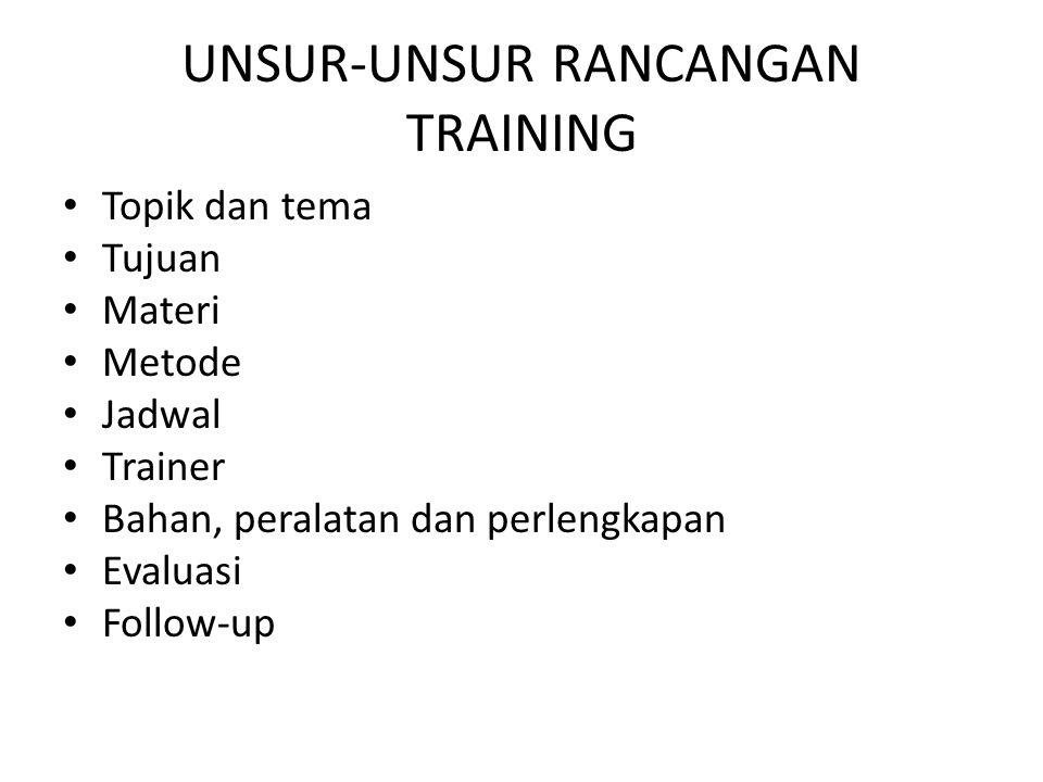 UNSUR-UNSUR RANCANGAN TRAINING • Topik dan tema • Tujuan • Materi • Metode • Jadwal • Trainer • Bahan, peralatan dan perlengkapan • Evaluasi • Follow-