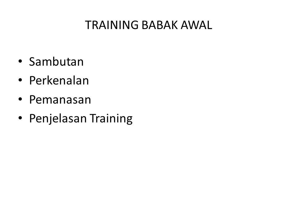 • Sambutan • Perkenalan • Pemanasan • Penjelasan Training