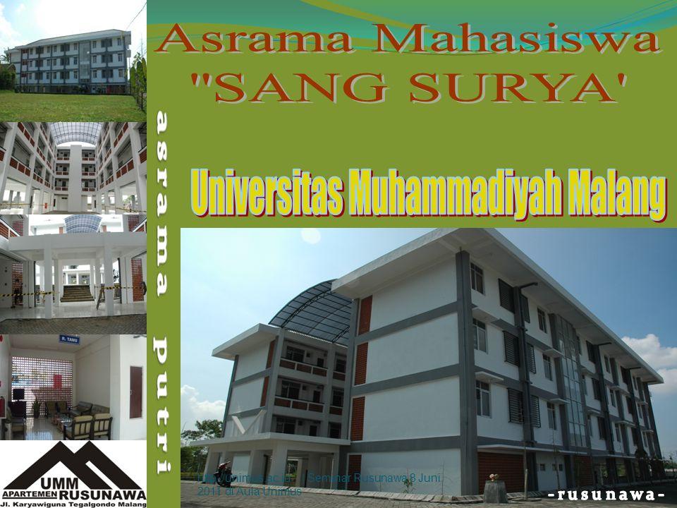 PENDAHULUAN  Pada akhir 2008, Universitas Muhammadiyah Malang telah memiliki Apartemen Rusunawa Mahasiswa yang berlokasi di Jl.