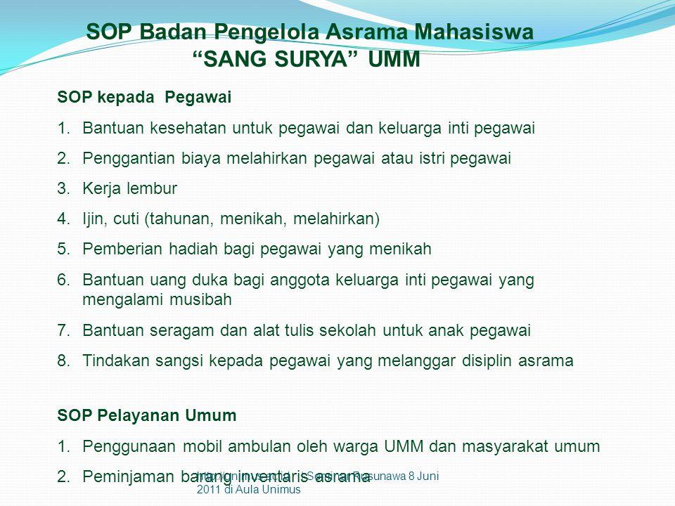 """SOP Badan Pengelola Asrama Mahasiswa """"SANG SURYA"""" UMM SOP kepada Pegawai 1.Bantuan kesehatan untuk pegawai dan keluarga inti pegawai 2.Penggantian bia"""