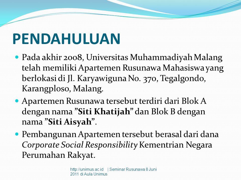 PENDAHULUAN  Pada akhir 2008, Universitas Muhammadiyah Malang telah memiliki Apartemen Rusunawa Mahasiswa yang berlokasi di Jl. Karyawiguna No. 370,