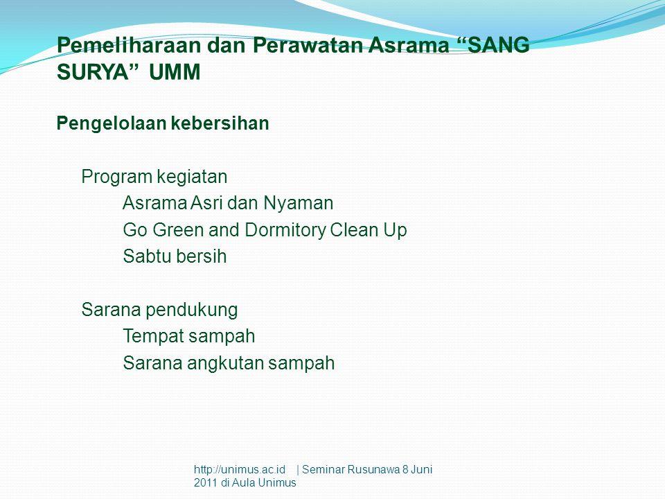 """Pemeliharaan dan Perawatan Asrama """"SANG SURYA"""" UMM Pengelolaan kebersihan Program kegiatan Asrama Asri dan Nyaman Go Green and Dormitory Clean Up Sabt"""