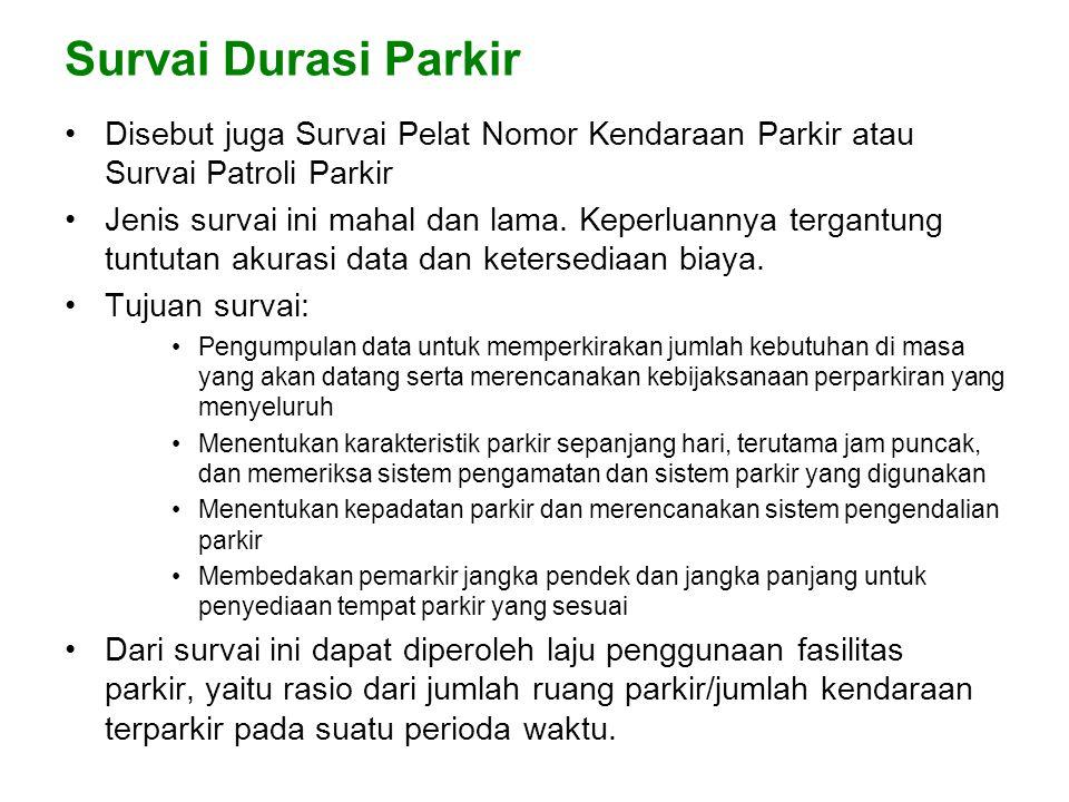 Survai Durasi Parkir •Disebut juga Survai Pelat Nomor Kendaraan Parkir atau Survai Patroli Parkir •Jenis survai ini mahal dan lama.