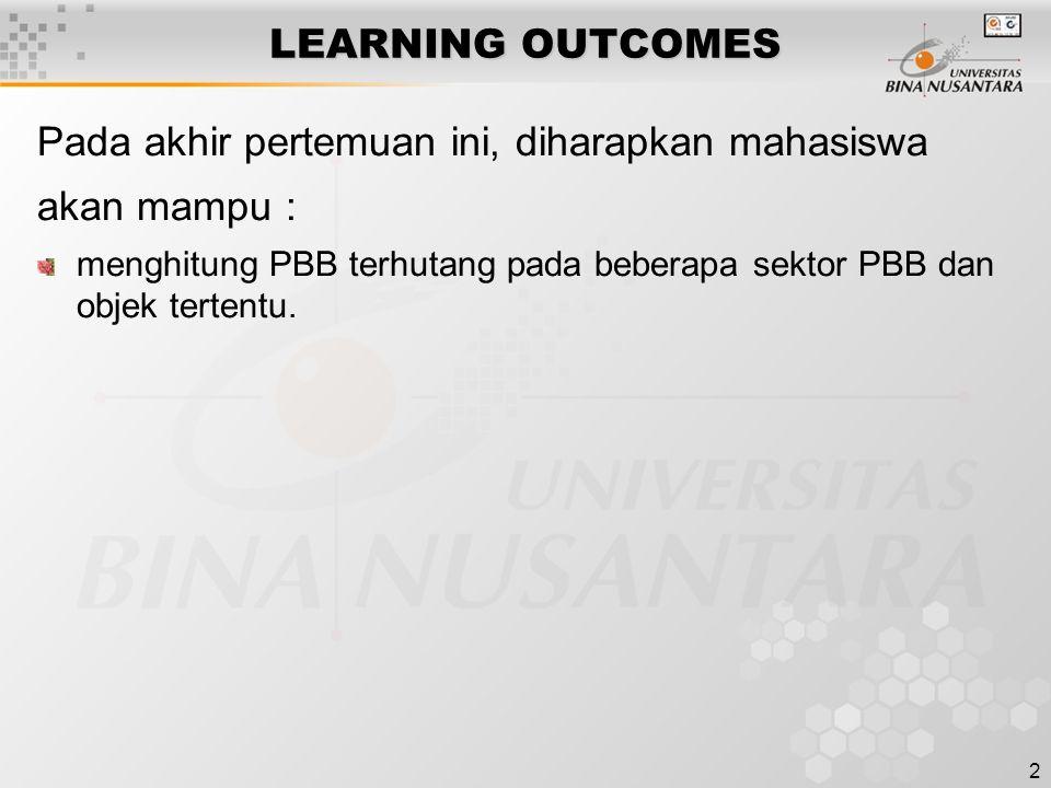 2 LEARNING OUTCOMES Pada akhir pertemuan ini, diharapkan mahasiswa akan mampu : menghitung PBB terhutang pada beberapa sektor PBB dan objek tertentu.