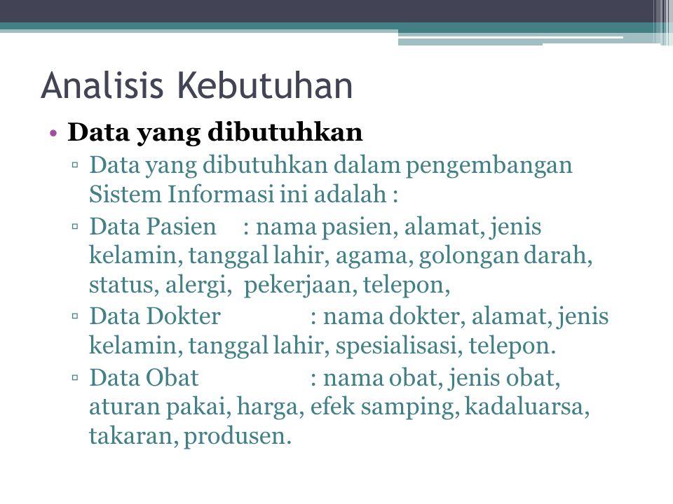 Analisis Kebutuhan •Data yang dibutuhkan ▫Data yang dibutuhkan dalam pengembangan Sistem Informasi ini adalah : ▫Data Pasien : nama pasien, alamat, je