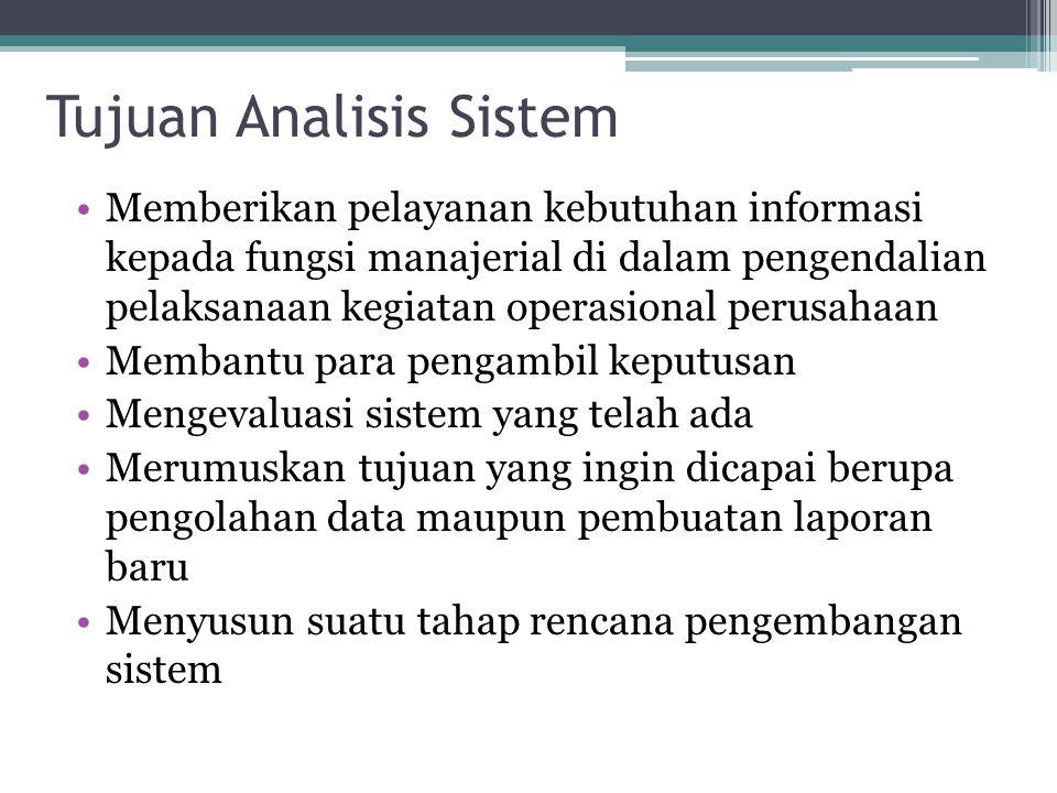Tujuan Analisis Sistem •Memberikan pelayanan kebutuhan informasi kepada fungsi manajerial di dalam pengendalian pelaksanaan kegiatan operasional perus