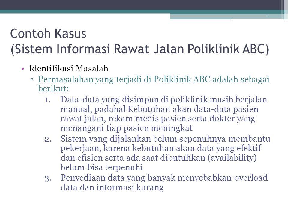 Contoh Kasus (Sistem Informasi Rawat Jalan Poliklinik ABC) •Identifikasi Masalah ▫Permasalahan yang terjadi di Poliklinik ABC adalah sebagai berikut: