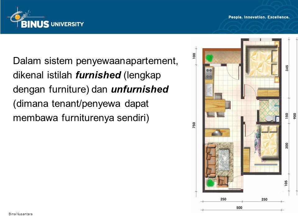 Dalam sistem penyewaanapartement, dikenal istilah furnished (lengkap dengan furniture) dan unfurnished (dimana tenant/penyewa dapat membawa furniturenya sendiri) Bina Nusantara