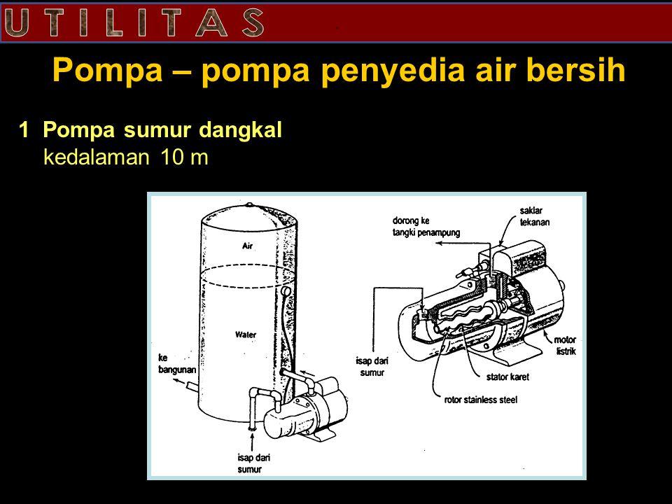 . Pompa – pompa penyedia air bersih 1 Pompa sumur dangkal kedalaman 10 m