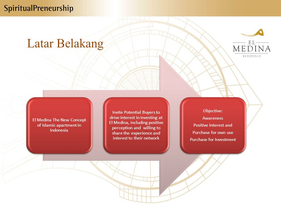 Latar Belakang El Medina The New Concept of Islamic apartment in Indonesia Invite Potential Buyers to drive interest in investing at El Medina, includ