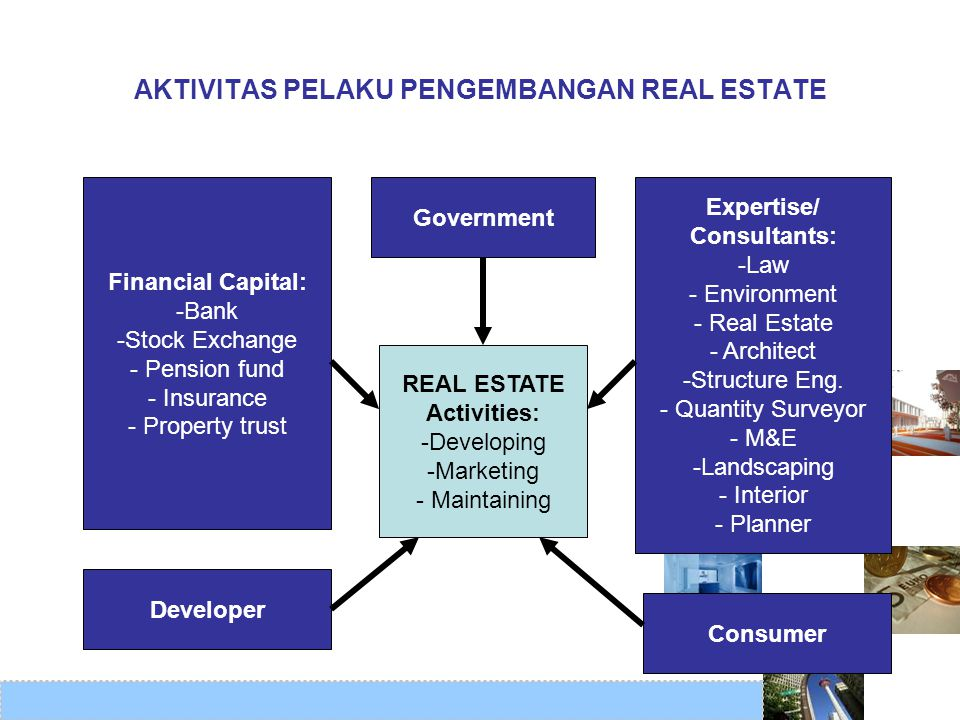 AKTIVITAS PELAKU PENGEMBANGAN REAL ESTATE REAL ESTATE Activities: -Developing -Marketing - Maintaining Government Expertise/ Consultants: -Law - Envir