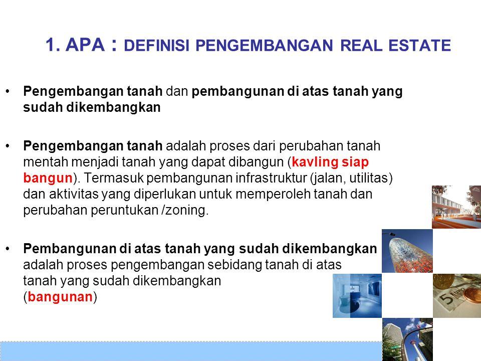 1. APA : DEFINISI PENGEMBANGAN REAL ESTATE •Pengembangan tanah dan pembangunan di atas tanah yang sudah dikembangkan •Pengembangan tanah adalah proses