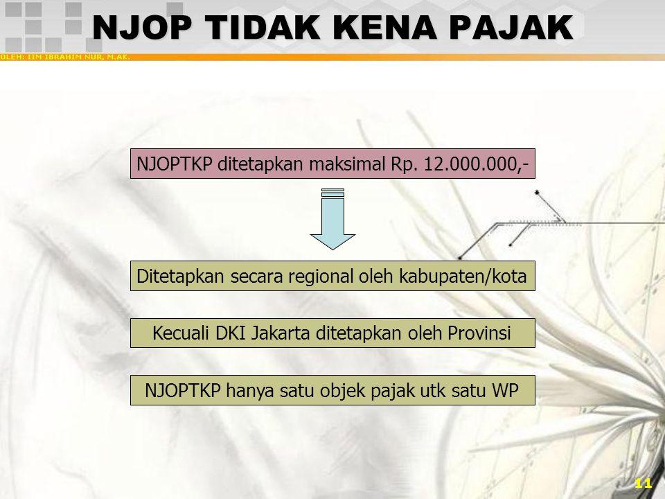 11 NJOP TIDAK KENA PAJAK NJOPTKP ditetapkan maksimal Rp. 12.000.000,- Ditetapkan secara regional oleh kabupaten/kota Kecuali DKI Jakarta ditetapkan ol