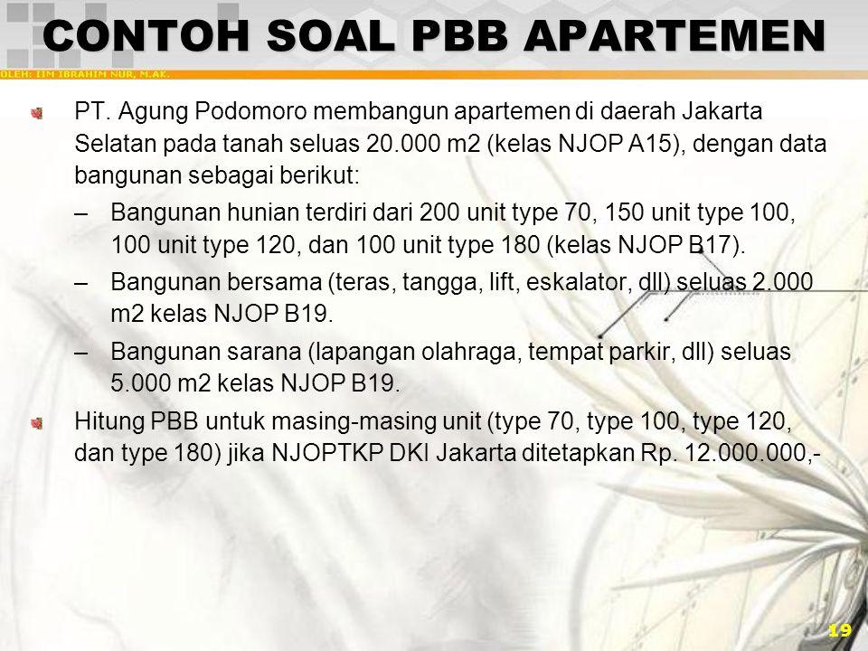 19 CONTOH SOAL PBB APARTEMEN PT. Agung Podomoro membangun apartemen di daerah Jakarta Selatan pada tanah seluas 20.000 m2 (kelas NJOP A15), dengan dat