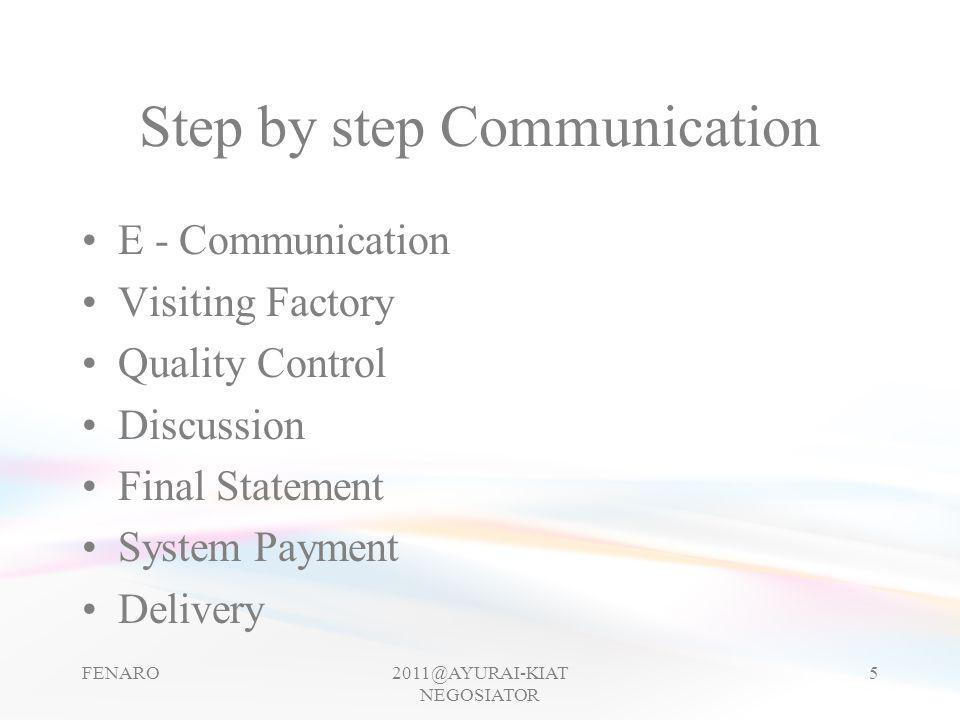 Step by step Communication •E - Communication •Visiting Factory •Quality Control •Discussion •Final Statement •System Payment •Delivery FENARO2011@AYU
