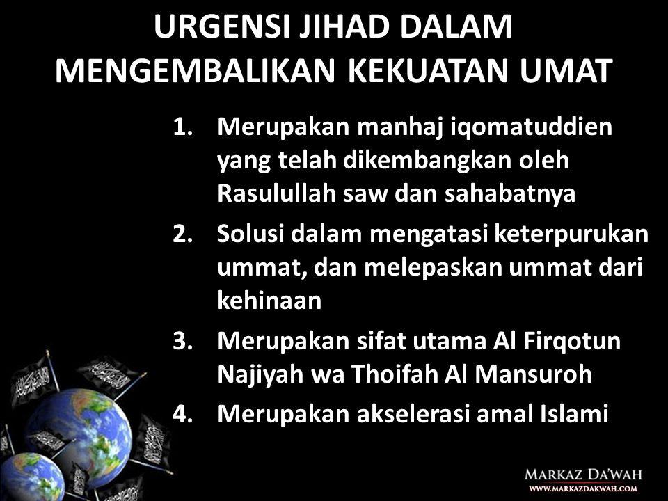 MEMBANGUN KEKUATAN UMAT 1.Mengembalikan Aqidah wala' wal bara' 2.Mengobarkan semangat Jihad fi Sabilillah sebagaimana telah ditegakkan oleh Rasulullah