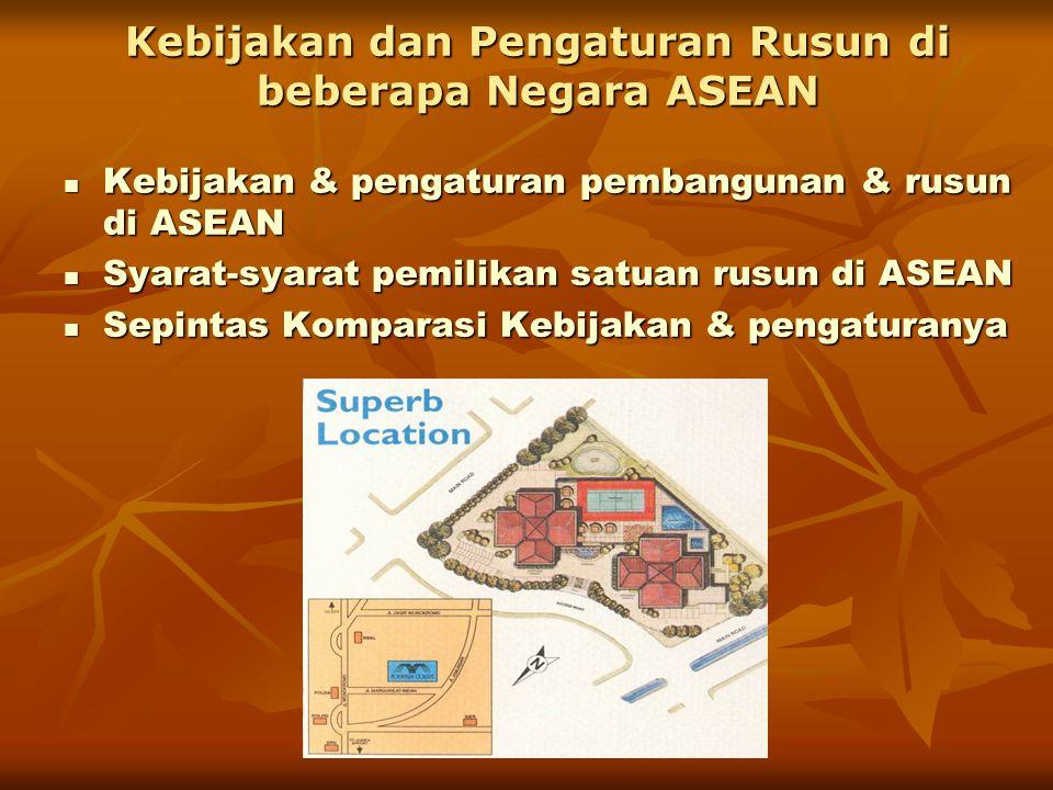 Kebijakan dan Pengaturan Rusun di beberapa Negara ASEAN  Kebijakan & pengaturan pembangunan & rusun di ASEAN  Syarat-syarat pemilikan satuan rusun d