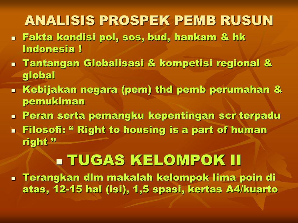 ANALISIS PROSPEK PEMB RUSUN  Fakta kondisi pol, sos, bud, hankam & hk Indonesia !  Tantangan Globalisasi & kompetisi regional & global  Kebijakan n