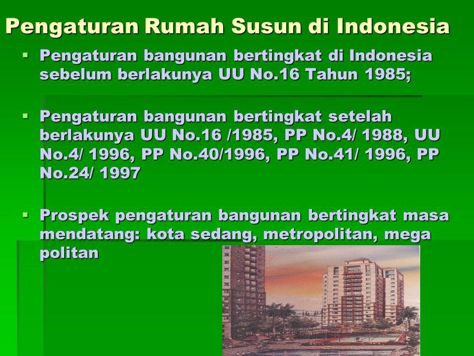Pengaturan Rumah Susun di Indonesia  Pengaturan bangunan bertingkat di Indonesia sebelum berlakunya UU No.16 Tahun 1985;  Pengaturan bangunan bertin
