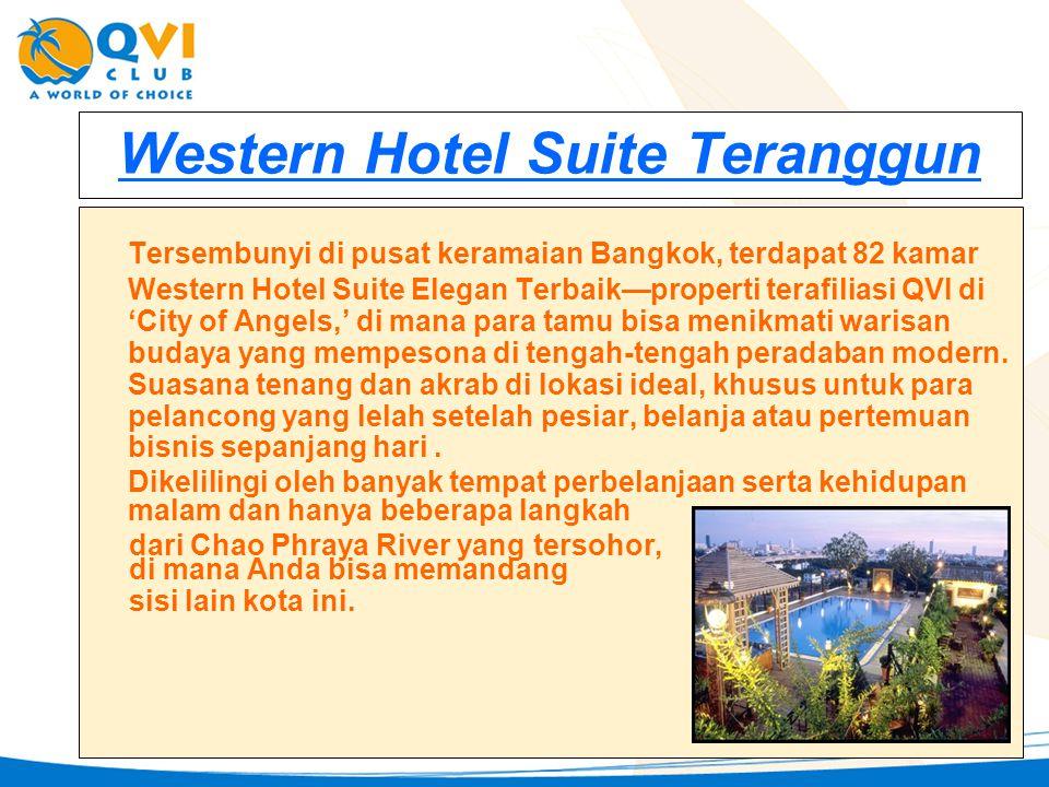 Western Hotel Suite Teranggun Tersembunyi di pusat keramaian Bangkok, terdapat 82 kamar Western Hotel Suite Elegan Terbaik—properti terafiliasi QVI di 'City of Angels,' di mana para tamu bisa menikmati warisan budaya yang mempesona di tengah-tengah peradaban modern.