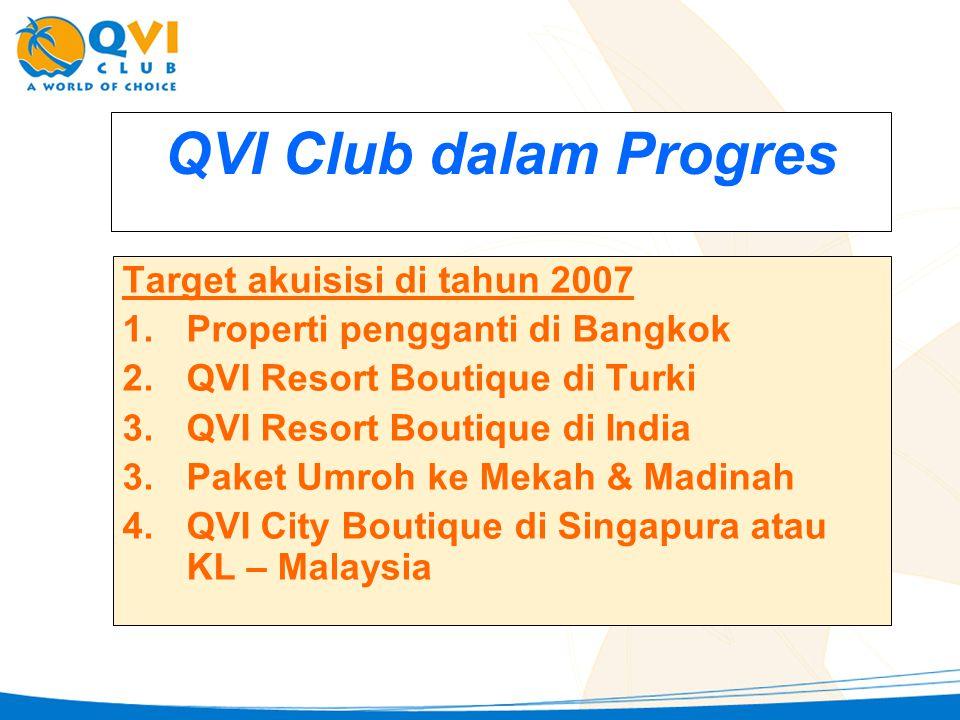 QVI Club dalam Progres Target akuisisi di tahun 2007 1.Properti pengganti di Bangkok 2.QVI Resort Boutique di Turki 3.QVI Resort Boutique di India 3.Paket Umroh ke Mekah & Madinah 4.QVI City Boutique di Singapura atau KL – Malaysia