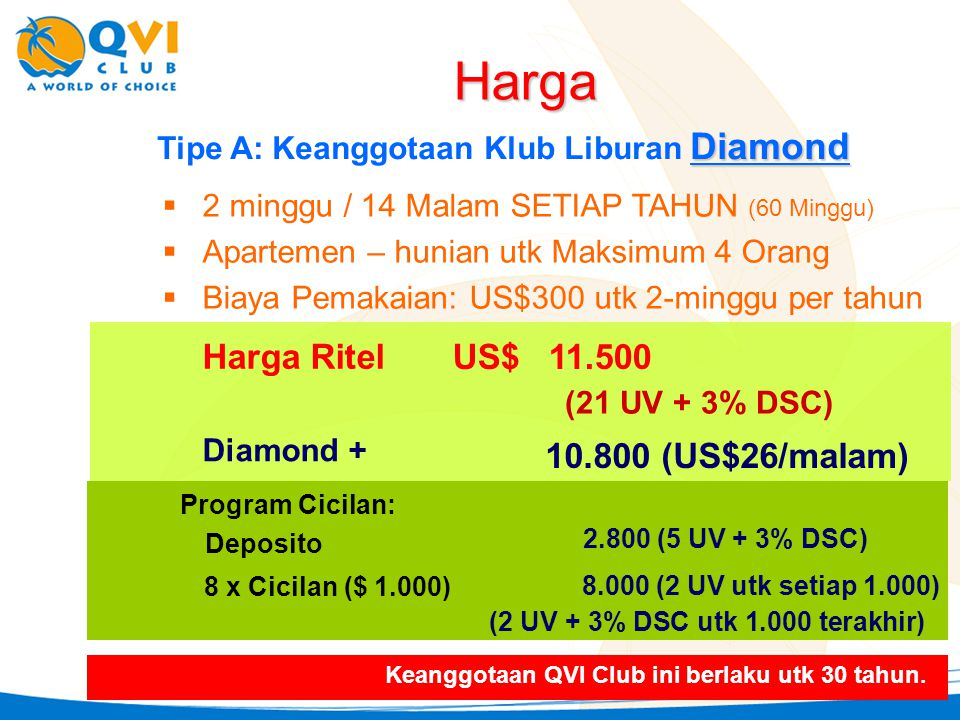 Diamond Tipe A: Keanggotaan Klub Liburan Diamond  2 minggu / 14 Malam SETIAP TAHUN (60 Minggu)  Apartemen – hunian utk Maksimum 4 Orang  Biaya Pemakaian: US$300 utk 2-minggu per tahun Harga Ritel US$11.500 (21 UV + 3% DSC) 2.800 (5 UV + 3% DSC) Deposito 8 x Cicilan ($ 1.000) 8.000 (2 UV utk setiap 1.000) Harga Diamond + 10.800 (US$26/malam) Program Cicilan: Keanggotaan QVI Club ini berlaku utk 30 tahun.