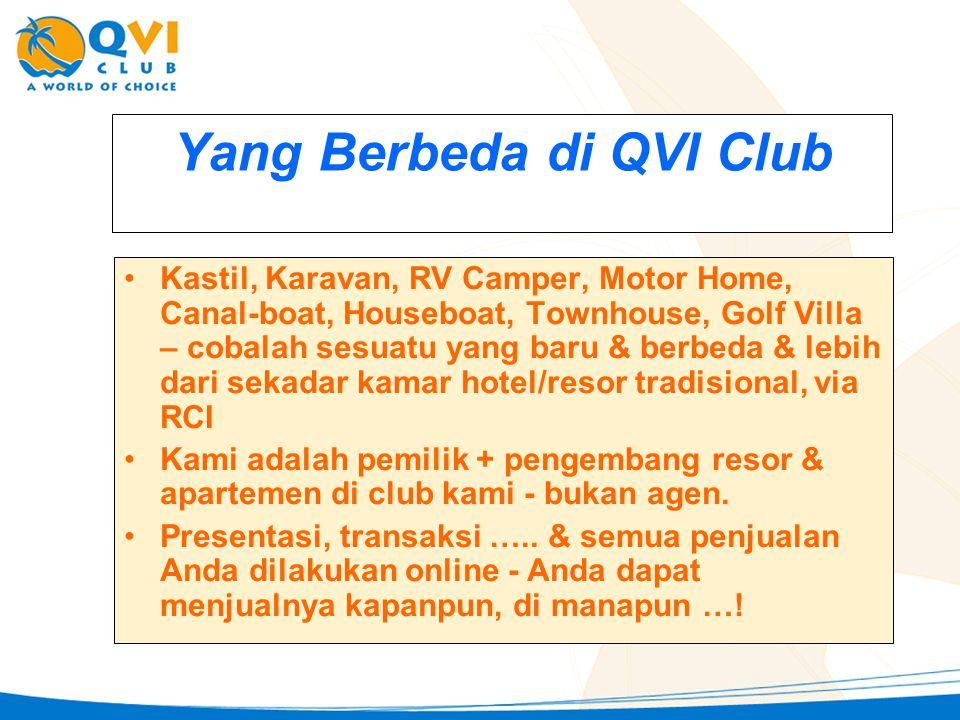 Yang Berbeda di QVI Club •K•Kastil, Karavan, RV Camper, Motor Home, Canal-boat, Houseboat, Townhouse, Golf Villa – cobalah sesuatu yang baru & berbeda & lebih dari sekadar kamar hotel/resor tradisional, via RCI •K•Kami adalah pemilik + pengembang resor & apartemen di club kami - bukan agen.