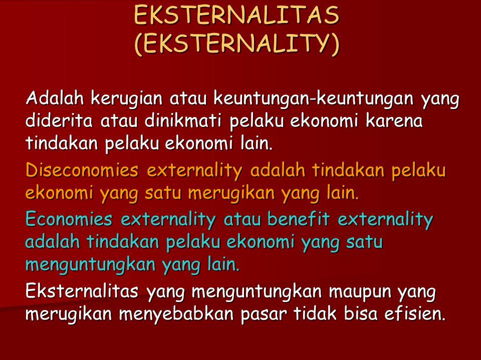 EKSTERNALITAS (EKSTERNALITY) Adalah kerugian atau keuntungan-keuntungan yang diderita atau dinikmati pelaku ekonomi karena tindakan pelaku ekonomi lain.
