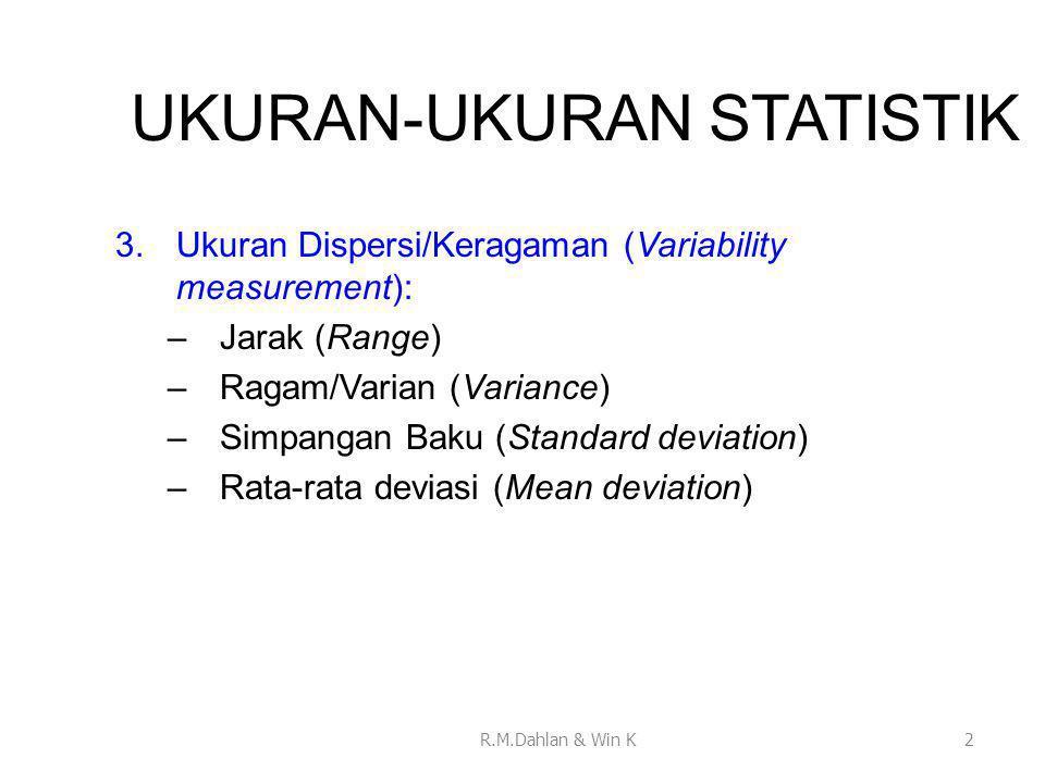 UKURAN-UKURAN STATISTIK 3.Ukuran Dispersi/Keragaman (Variability measurement): –Jarak (Range) –Ragam/Varian (Variance) –Simpangan Baku (Standard devia