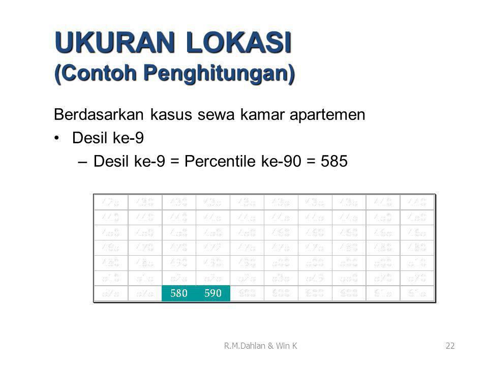 Berdasarkan kasus sewa kamar apartemen •Desil ke-9 –Desil ke-9 = Percentile ke-90 = 585 22 UKURAN LOKASI (Contoh Penghitungan) R.M.Dahlan & Win K