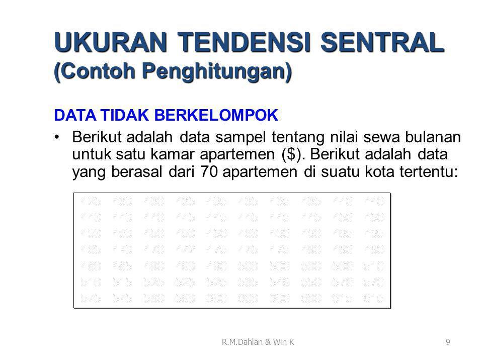 DATA TIDAK BERKELOMPOK •Berikut adalah data sampel tentang nilai sewa bulanan untuk satu kamar apartemen ($). Berikut adalah data yang berasal dari 70