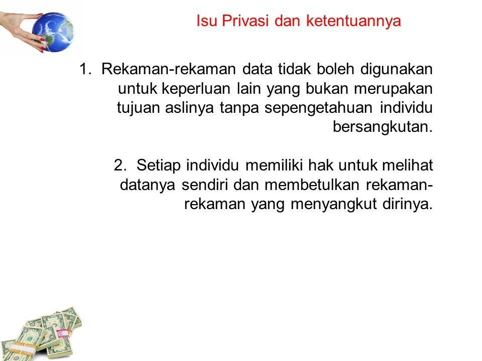 Isu Privasi dan ketentuannya 1. Rekaman-rekaman data tidak boleh digunakan untuk keperluan lain yang bukan merupakan tujuan aslinya tanpa sepengetahua