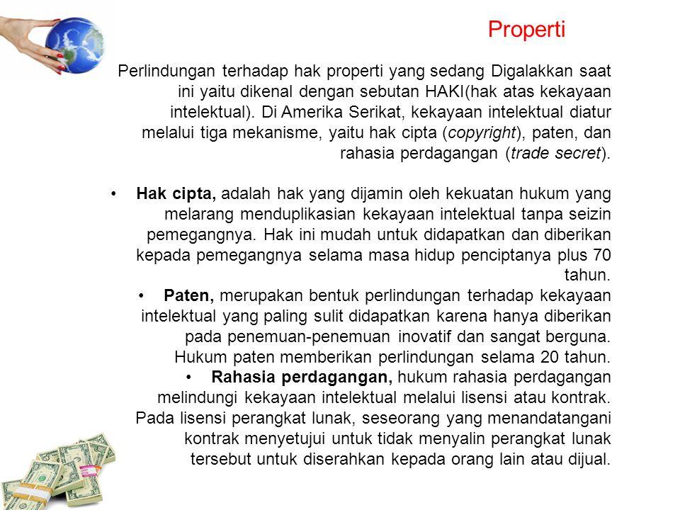Properti Perlindungan terhadap hak properti yang sedang Digalakkan saat ini yaitu dikenal dengan sebutan HAKI(hak atas kekayaan intelektual). Di Ameri