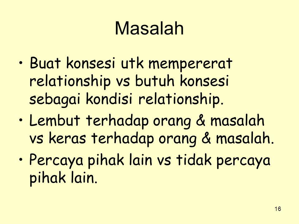 16 Masalah •Buat konsesi utk mempererat relationship vs butuh konsesi sebagai kondisi relationship. •Lembut terhadap orang & masalah vs keras terhadap