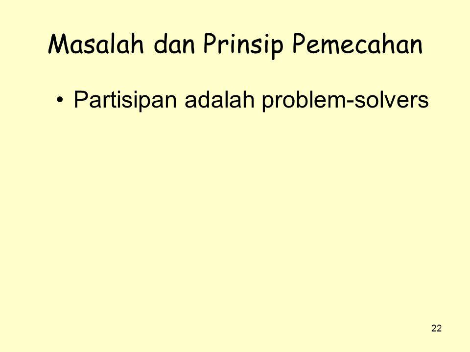 22 Masalah dan Prinsip Pemecahan •Partisipan adalah problem-solvers