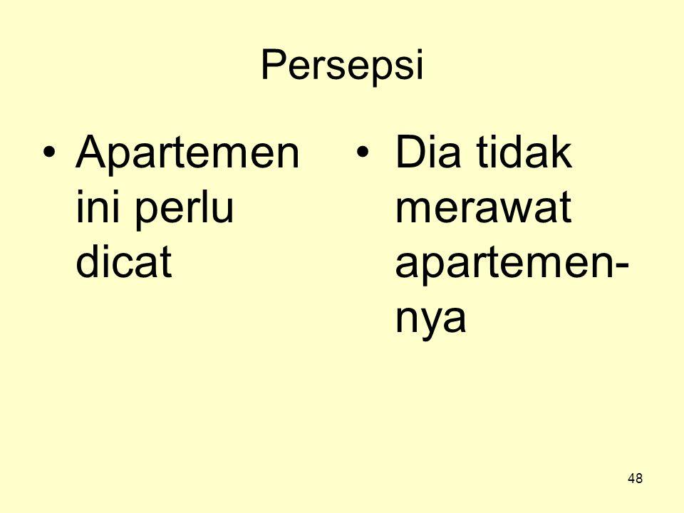 48 Persepsi •Apartemen ini perlu dicat •Dia tidak merawat apartemen- nya