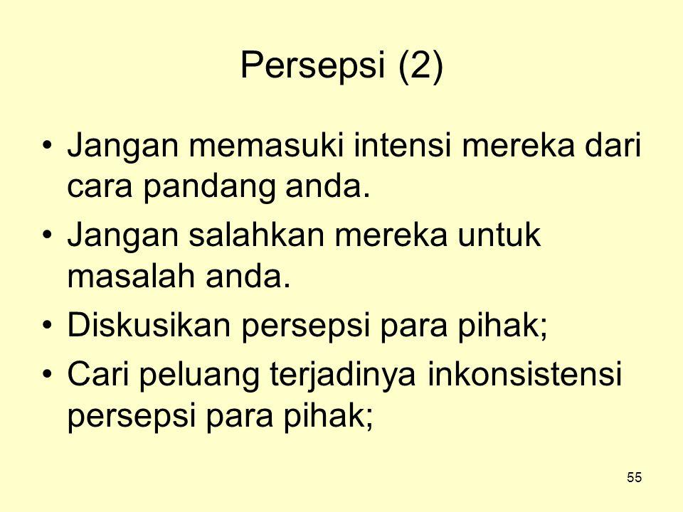 55 Persepsi (2) •Jangan memasuki intensi mereka dari cara pandang anda. •Jangan salahkan mereka untuk masalah anda. •Diskusikan persepsi para pihak; •